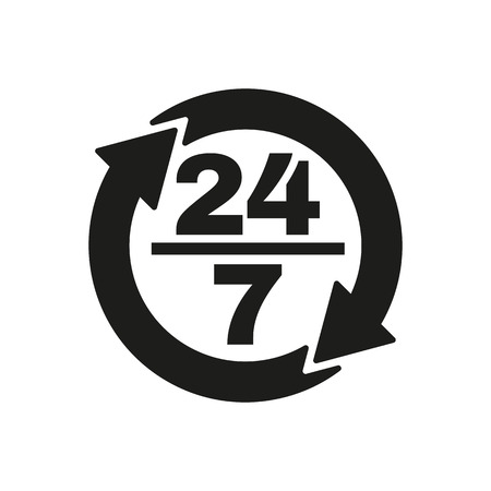 hrs: The 24 7 icon. Open and assistance, support symbol. Flat Vector illustration
