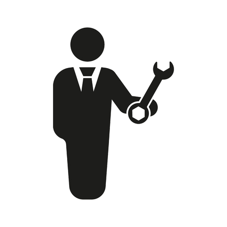 technician: The support icon. Engineer and repair, technician, fixing symbol. Flat Vector illustration. Button Set
