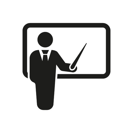 teacher: El icono del profesor. Formaci�n y presentaci�n, seminario, el aprendizaje de s�mbolos. Ilustraci�n vectorial Flat