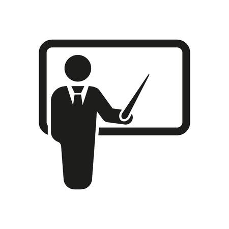Ikona nauczycielem. Szkoleń i prezentacji, seminarium, nauka symbol. Mieszkanie Vector
