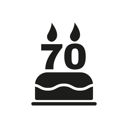 number candles: The birthday cake with candles in the form of number 70 icon. Birthday symbol. Flat Vector illustration Illustration