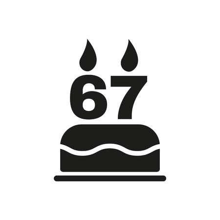 number candles: The birthday cake with candles in the form of number 67 icon. Birthday symbol. Flat Vector illustration