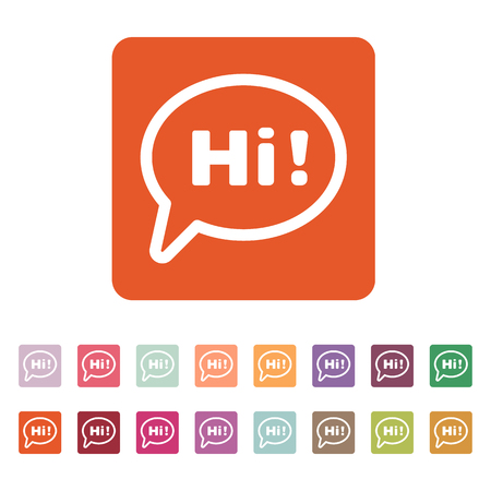 greet: The hi icon. Greet and hello symbol. Flat Vector illustration. Button Set