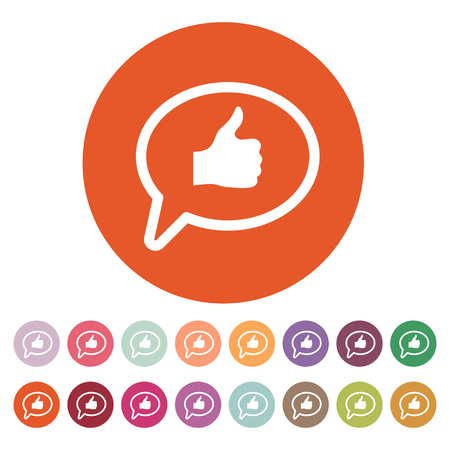 thumbs: Thumbs up in the speech bubble icon. Social network and web communicate, like symbol. Flat Vector illustration. Button Set