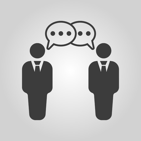 discussion forum: The negotiations icon. Debate and dialog, discussion, conversations symbol. Flat Vector illustration