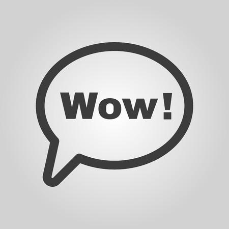 wow: La burbuja del discurso con la palabra wow icono. Internet y el chat, símbolo en línea. Ilustración vectorial Flat Vectores