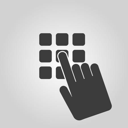 El icono de código pin. Contraseña y desbloqueo, el acceso, la identificación, desbloquear símbolo. Ilustración vectorial Flat. Botón