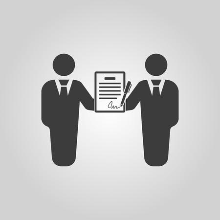 pacto: El icono del contrato. Acuerdo y firma, pacto, sociedad, símbolo de la negociación. Ilustración vectorial Flat