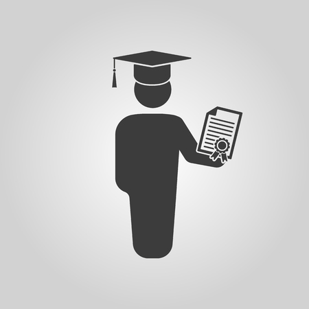 alumnus: The graduate with diploma icon. School and university, learning, education symbol. Flat Vector illustration