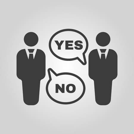 conviction: The dispute icon. Dialog and  negotiation, discussion symbol. Flat Vector illustration