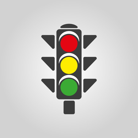 the stoplight: The traffic light icon. Stoplight and  semaphore, crossroads symbol. Flat Vector illustration Illustration