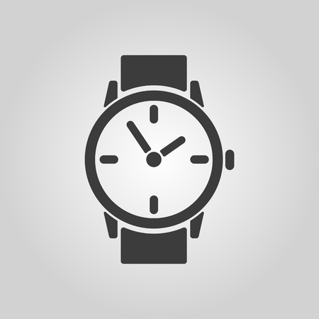 stopwatch: The watch icon. Clock and wristwatch, timer, time, stopwatch symbol. Flat Vector illustration