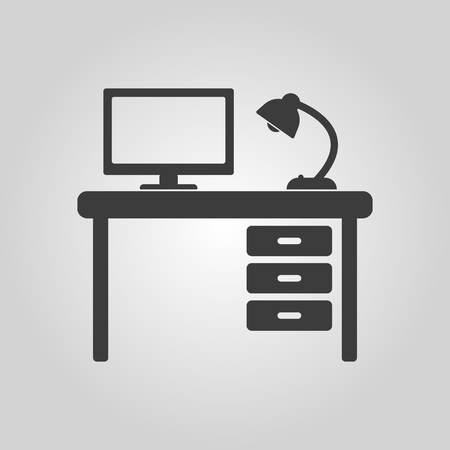 The table icon. Workplace and job, office, working symbol. Flat Vector illustration