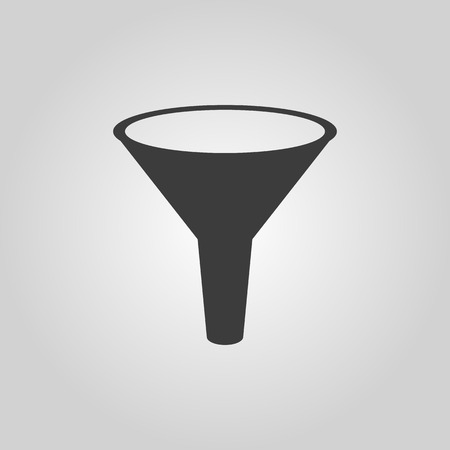 funnel: The funnel icon. Filtered and filter, laboratory, chemistry symbol. Flat Vector illustration