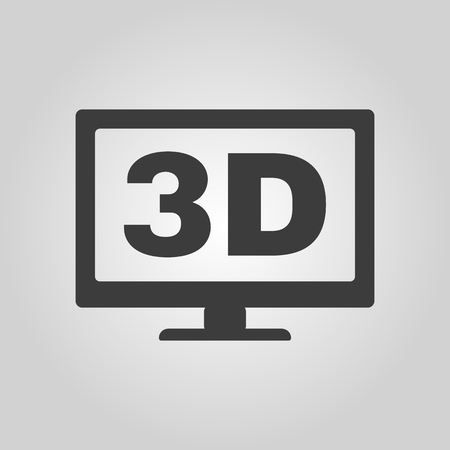 movie screen: The 3d icon. Monitor and display, screen, movie symbol. Flat Vector illustration