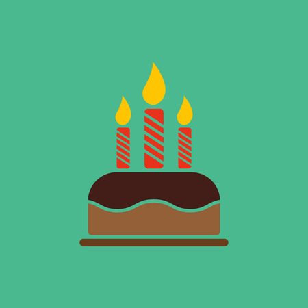 cooking recipe: The birthday cake with candles icon. Dessert symbol. Flat Vector illustration Illustration