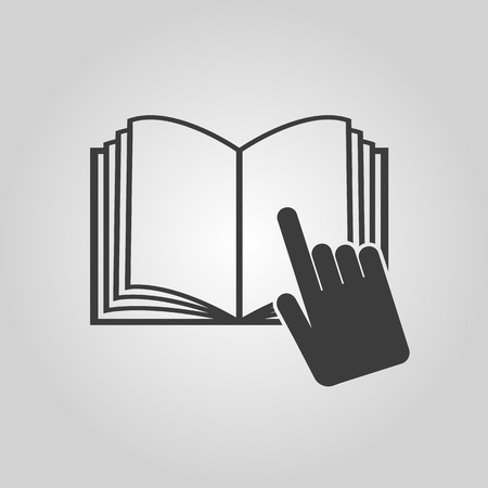 instru��o: The open book icon. Manual and tutorial, instruction symbol. Flat Vector illustration Ilustra��o