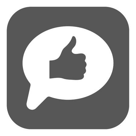 thumbs: Thumbs up in the speech bubble icon. Social network and web communicate, like symbol. Flat Vector illustration. Button