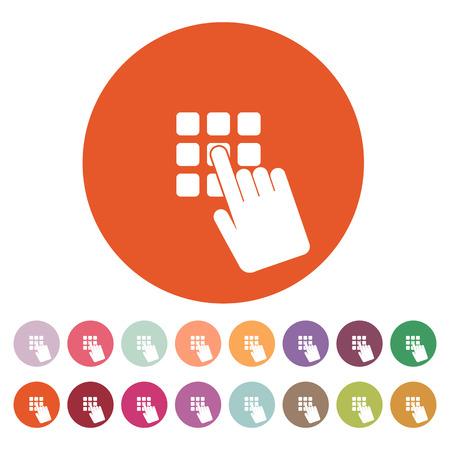 keypad: The pin code icon. Password and  unlock, access, identification, unlock symbol. Flat Vector illustration. Button Set Illustration