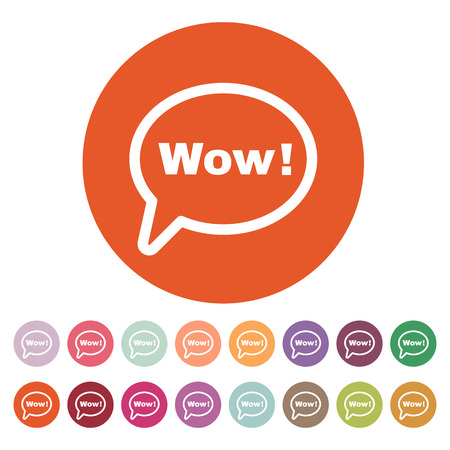 wow: La burbuja del discurso con la palabra wow icono. Internet y el chat, símbolo en línea. Ilustración del vector plana. Conjunto del botón