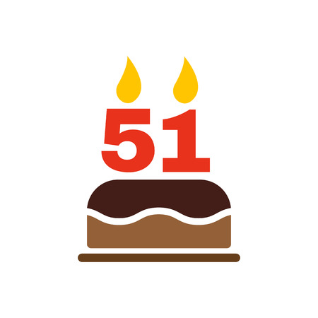 51: The birthday cake with candles in the form of number 51 icon. Birthday symbol. Flat Vector illustration