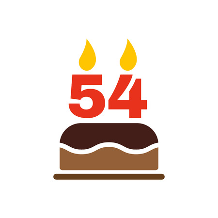 number candles: The birthday cake with candles in the form of number 54 icon. Birthday symbol. Flat Vector illustration