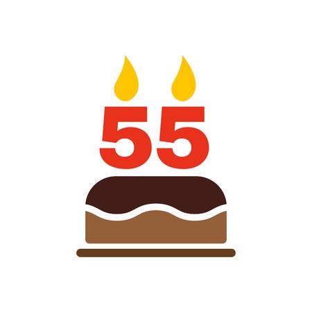アイコン番号 55 の形のキャンドルで誕生日ケーキ。誕生日のシンボル。フラットのベクトル図