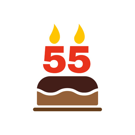 The birthday cake with candles in the form of number 55 icon. Birthday symbol. Flat Vector illustration