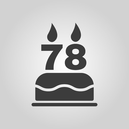 78: The birthday cake with candles in the form of number 78 icon. Birthday symbol. Flat Vector illustration