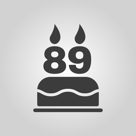 number candles: The birthday cake with candles in the form of number 89 icon. Birthday symbol. Flat Vector illustration Illustration