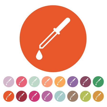 eyedropper: The pipette icon. Dropper and eyedropper, analysis, chemistry symbol. Flat Vector illustration. Button Set