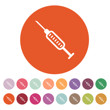 syringe inoculation: The syringe icon. Injector and hypodermic, preparation, medicine,  vaccine symbol. Flat Vector illustration. Button Set Illustration