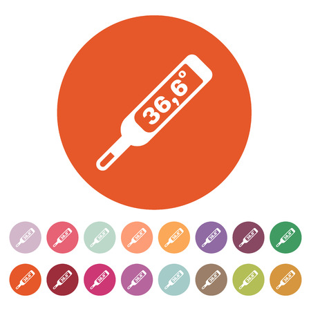number 36: The medical thermometer icon. Healthy and diagnostic, doctor, medicine symbol. Flat Vector illustration. Button Set Illustration