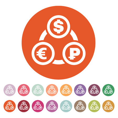 money wealth: The currency exchange dollar, euro, ruble icon. Cash and money, wealth, payment symbol. Flat Vector illustration. Button Set Illustration