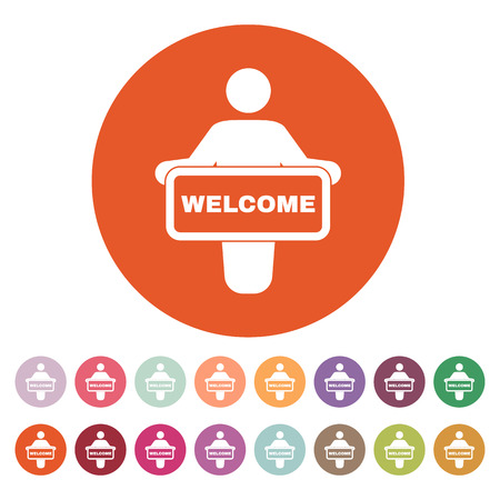 welcome people: The welcom icon. Invite symbol. Flat Vector illustration. Button Set Illustration
