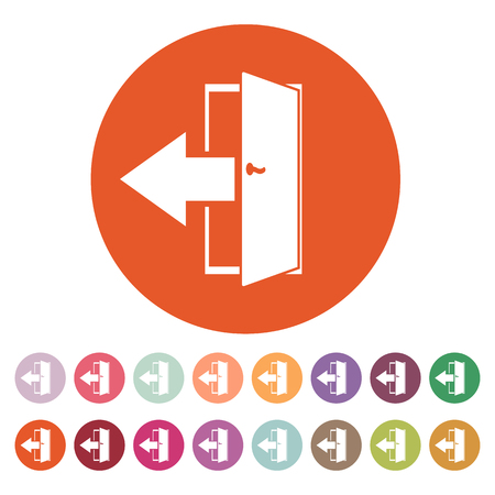 output: The exit icon. Logout and output, outlet, out symbol. Flat Vector illustration. Button Set