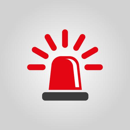 simbolo: L'icona lampeggiante. Polizia e ambulanza, allarme, faro simbolo. Piatto vettore