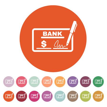 chequera: El icono de comprobación. Talonario de cheques y cheque, paga, pago, pago de símbolo. Ilustración vectorial Flat. Botón Set