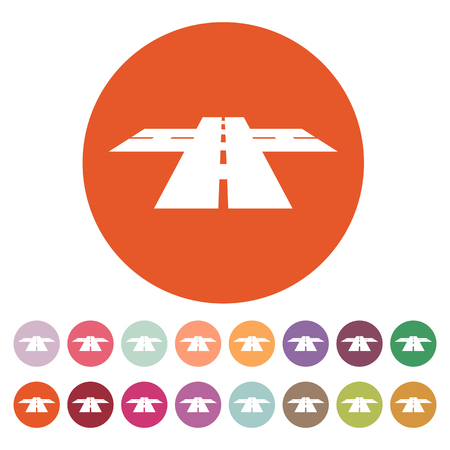 crossway: The crossroads icon. Crossway and crossing, intersection, road,  route symbol. Flat Vector illustration. Button Set