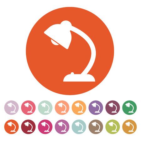 lighting button: The table lamp icon. Reading-lamp and lighting, illumination, light symbol. Flat Vector illustration. Button Set
