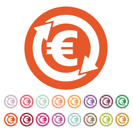 money wealth: The currency exchange euro icon. Cash and money, wealth, payment symbol. Flat Vector illustration. Button Set