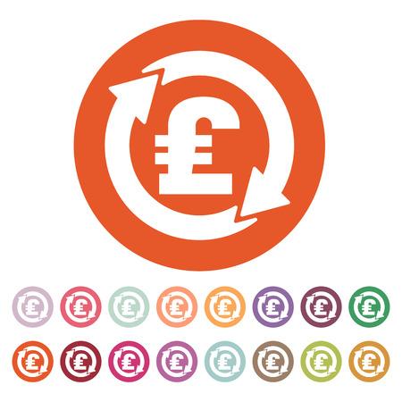 libra esterlina: El icono de la libra esterlina de cambio de divisa. Dinero en efectivo y el dinero, la riqueza, símbolo pago. Ilustración del vector plana. Conjunto del botón