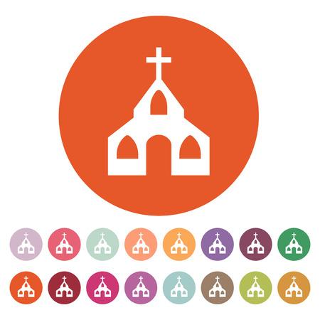god button: The church icon. Christian and god, catholic, faith symbol. Flat Vector illustration. Button Set