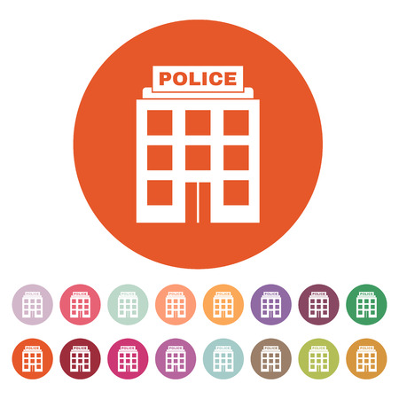 authority: The police icon. Law and authority symbol. Flat Vector illustration. Button Set Illustration