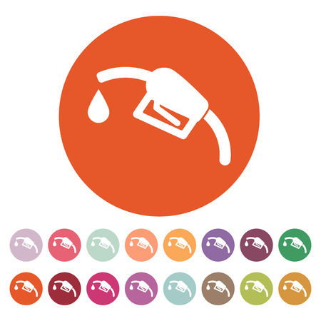 diesel: The gas station icon. Gasoline and diesel fuel symbol. Flat Vector illustration. Button Set