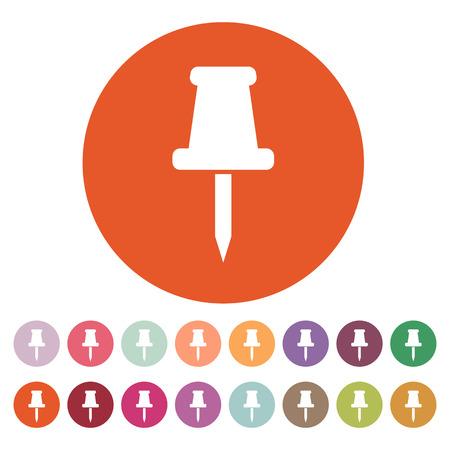 The push pin icon. Memo and note, attachment symbol. Flat Vector illustration. Button Set Illustration