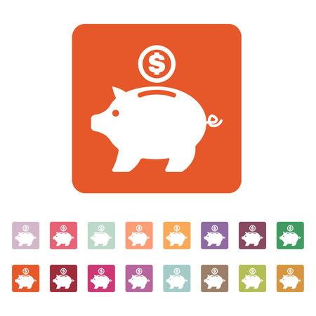 money wealth: The moneybox icon. Cash and money, wealth, savings symbol. Flat Vector illustration. Button Set Illustration