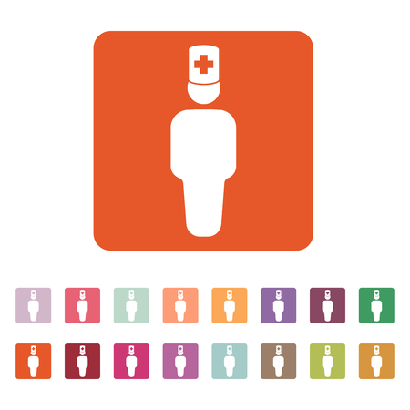practitioner: The doctor avatar icon. Physician and practitioner, medicine, hospital symbol. Flat Vector illustration. Button Set