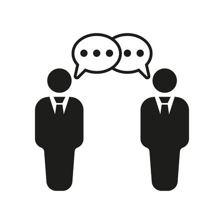 negociacion: El icono de las negociaciones. El debate y de diálogo, discusión, conversaciones símbolo. Ilustración vectorial Flat