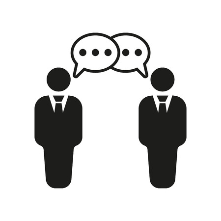 conversation: The negotiations icon. Debate and dialog, discussion, conversations symbol. Flat Vector illustration